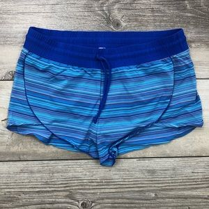 ATHLETA size medium blue striped swim shorts
